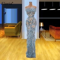 High Fashion Feathers Cocktail Dresses 2020 Strapless Mermaid Illusion Robes De Cocktail Arabic Beads Prom Dresses Women Party