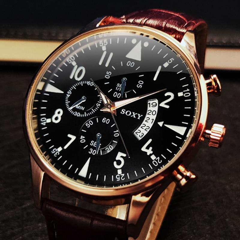 Men's Watches Classic Casual Luminous With Calendar Luxury Leather Watch Male Quartz Wristwatch Relogio Masculino Saati Hours