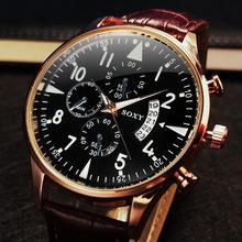 Montre de luxe en cuir pour homme, classique, lumineuse, à Quartz, avec calendrier