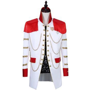 European and American men's red court tassel suit 2019 new nightclub male singer costume
