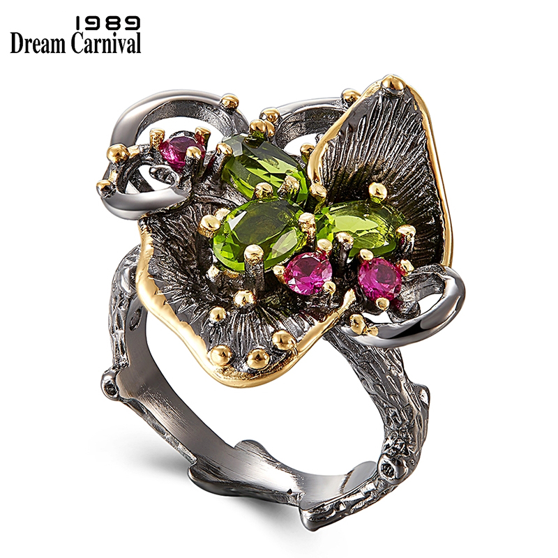 DreamCarnival 1989 New Arrive Vintage Women Flower Rings Hot Pick Black Gold Coated Chic Jewlery Ring Party Must Have WA11669