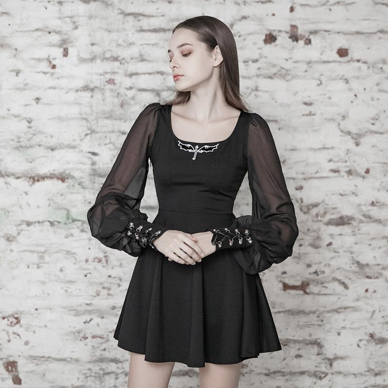Punk Rave femmes Goth mousseline de soie noir petite robe avec manches bouffantes PQ496LQ asie taille S-L