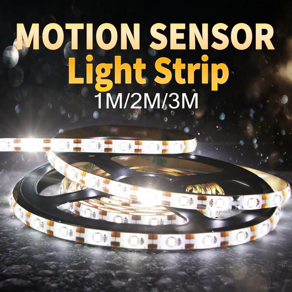 Wireless Motion Sensor LED Strip Light 5M USB Fita LED Strip Lamp Tape TV Under Bed Cabinet Closet Wardrobe Stairs Night Light 2