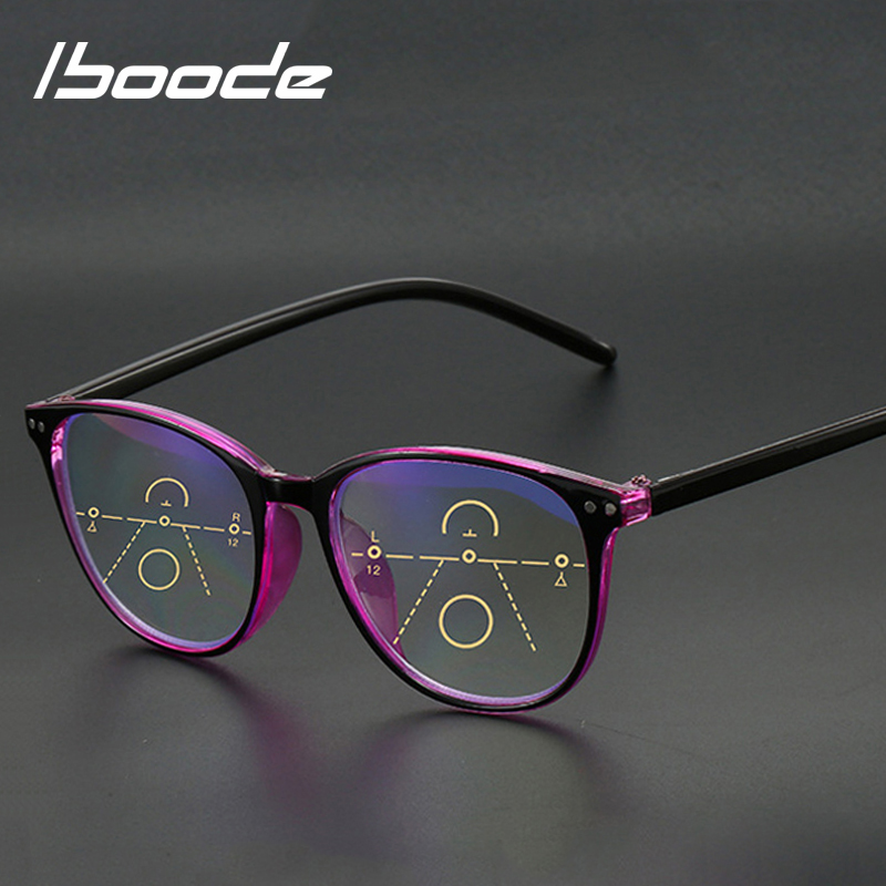 Iboode Anti Blue Light Reading Glasses Men Progressive Multifocal Glasses Frame Women Near Far Sight Diopter +1.0 1.5 2.0 2.5 3