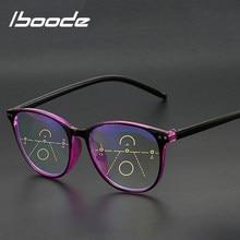 Iboode-gafas de lectura con luz azul para hombre y mujer, montura de gafas multifocales graduales, dioptrías con visión de lejos + 1,0, 1,5, 2,0, 2,5, 3