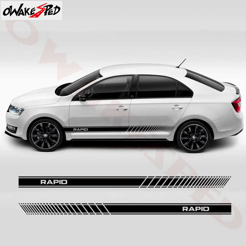 2PCS Auto Porta Laterale Stripes Gonna Decor Adesivi In Vinile Della Decalcomania Corsa Styling Autoadesivi Del Corpo Per Skoda Rapid Accessori