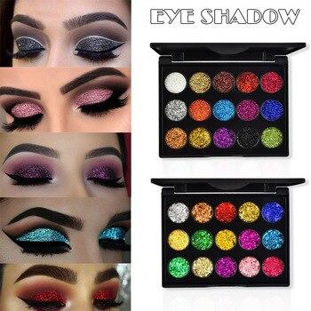 Paleta de sombra de ojos brillante de 15 colores de alta calidad, paleta de lentejuelas brillantes para Maquillaje facial del cuerpo de los ojos