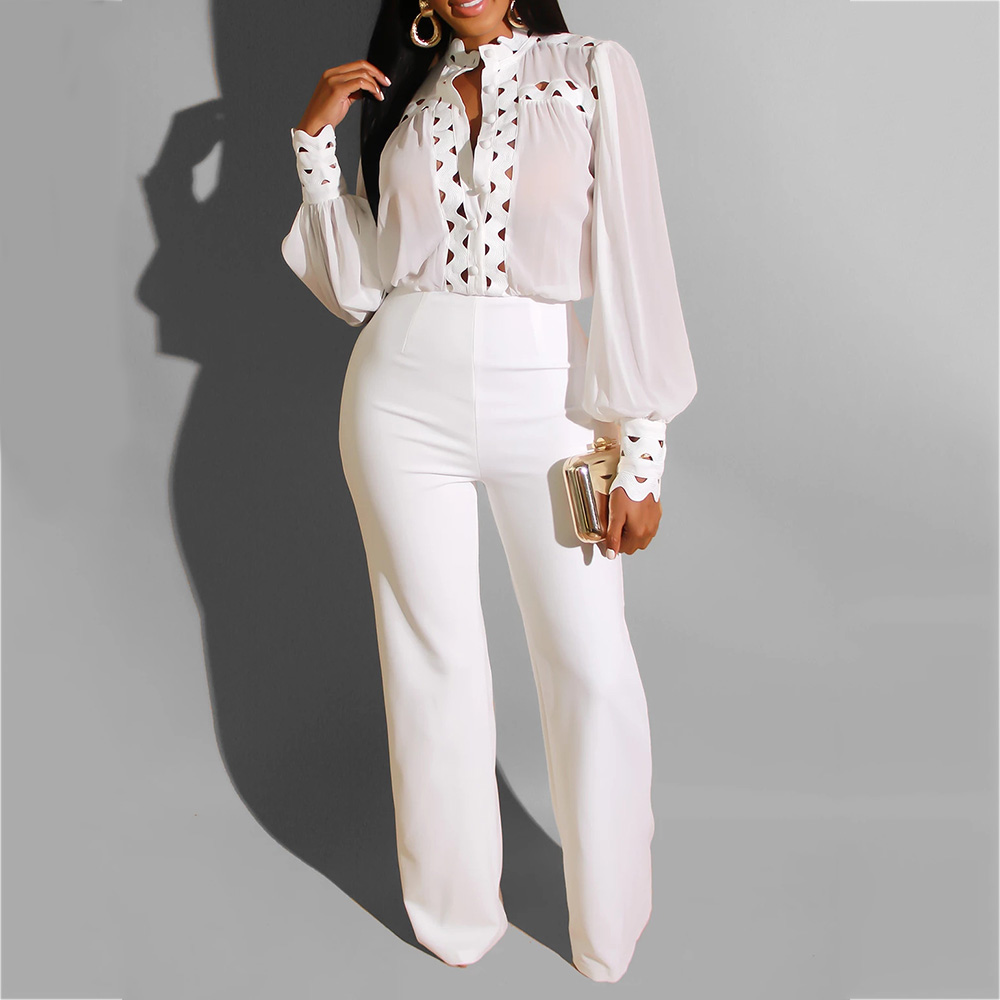 Chiffon Long Sleeve White Black Suit Elegant Lady Hollow Out African Fall Winter Party Long Pants Wide Leg Office Wear Playsuit