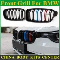 Série 3 Plástico ABS dupla slat M cor Corrida Grille Bumper Grill Para BMW F30 316d 318i 320i 328i 325d 328d 330d 335i M Cor|bumper grille|racing grillgrill for bmw -