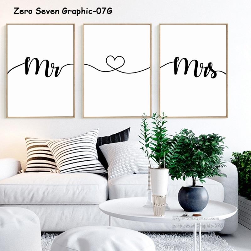 Schwarz Und Weiß Liebe Begriff Mr & Mrs Leinwand Malerei Poster Und Drucke Wohnzimmer Schlafzimmer Wand Kunst Bilder Hause dekoration
