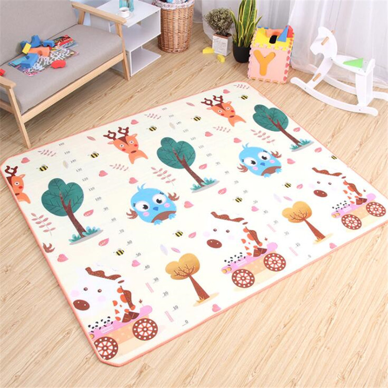 Baby Play Mat Non-Slip Cute Bird Bear Double Sided Children Developing Mat Toys Kids Rug For Newborn Crawling Carpet Soft Floor