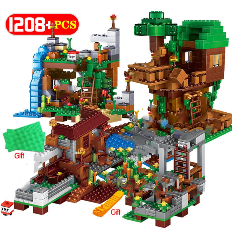 2019 NEW Sets Building Blocks Lepining Village City Tree House Minecraftinglys Waterfall Warhorse Bricks Toys For Children