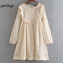Vintage Women Floral Embroidery Dress Long Sleeve Round Neck Ruffle Cotton Casua