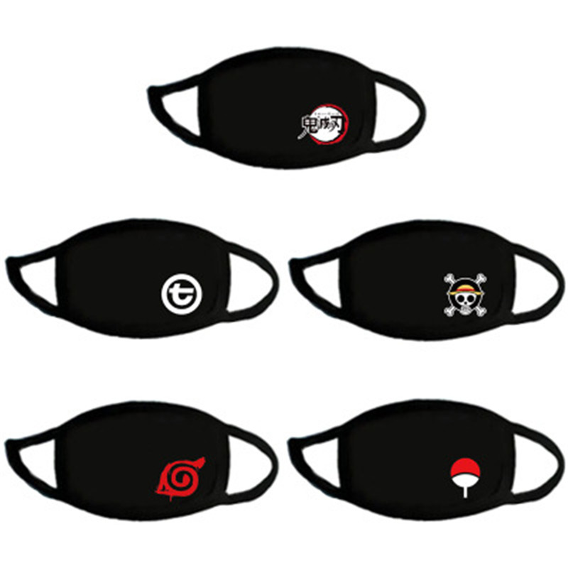 Anime NARUTO ONE PIECE Figure Cosplay Mask Konoha Akatsuki Red Cloud Symbol Child Adult Sports Half Face Dust Proof Masks