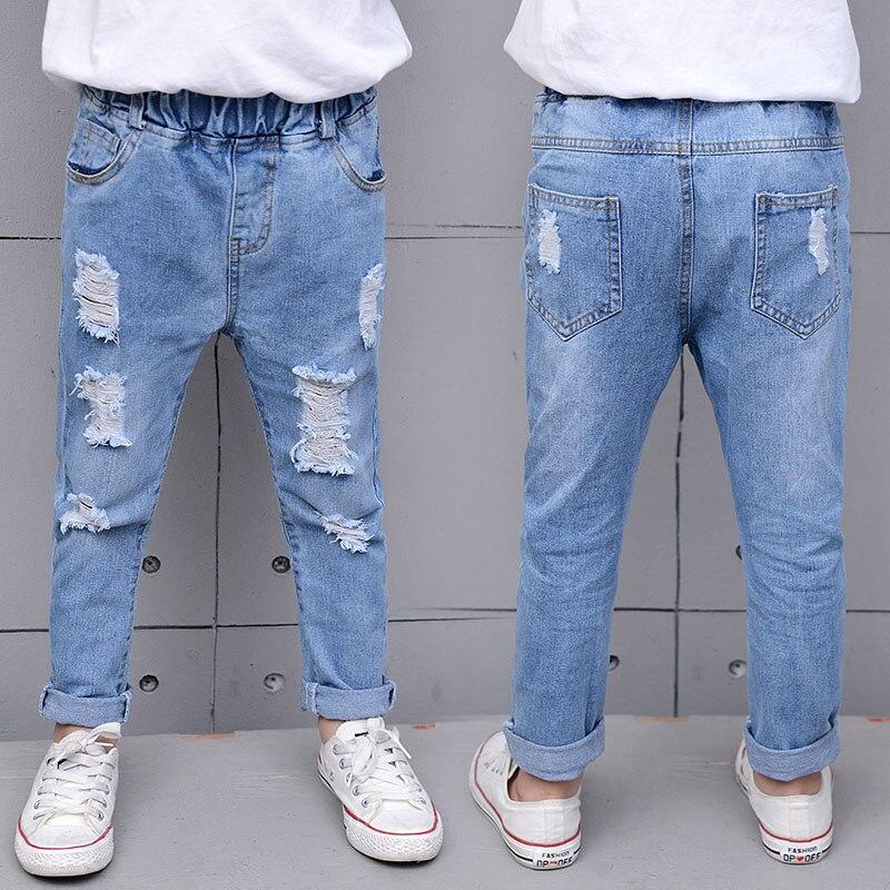 casual meninos calcas de brim solido elastico cintura longa criancas calcas nova moda solto buracos meninos