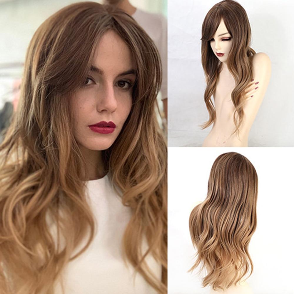 JONRENAU 24 дюйма синтетические коричневые длинные натуральные волнистые парики с боковым взрывом женские модные вечерние парики или парики
