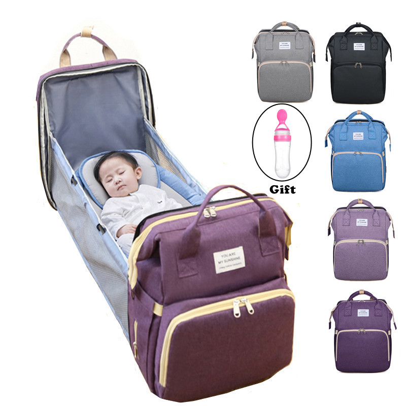 Travel Foldable Cot Bed with Mattress Included and USB Charging Port Black Multifunctional Baby Travel Cot 4 in 1 Foldable Bed Portable Diaper Changing Bag Backpack