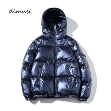 DIMUSI Winter Men Jacket Fashion Men Thermal Parkas Coats Man Thick Warm Outwear Windbreaker Hoodies Silver Bright Jackets 5XL