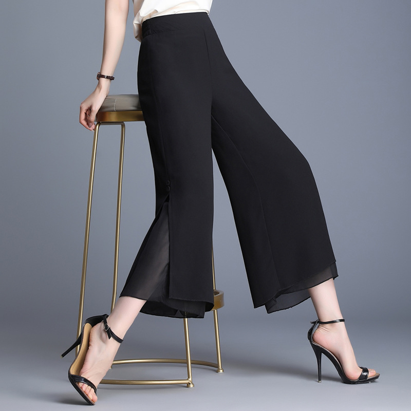 2019 Summer New Thin Drape Chiffon Slit Loose Pants High-waisted Loose-Fit Capri Pants Skirt Women's One-Piece