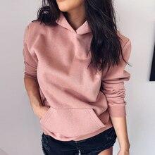 купить Womens Casual Solid Hoodies 2019 Autumn Cowl Neck Long Sleeve Drawstring Pullover Sweatshirts Hoodie Female Fashion Streetwears дешево