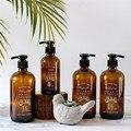 Шикарная коричневая стеклянная пресс-бутылка для ванны  мыла  шампуня  бутылочка для кондиционера  скандинавский 230 мл  460 мл  дозатор для мыт...