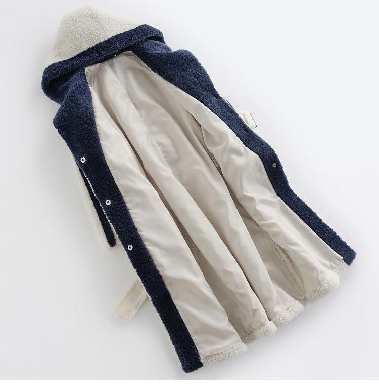 Coat Wool 100% Female Sheep Shearling Fur Coats Winter Jacket Women Hooded Korean Warm Fur Jackets Chaqueta Mujer MY4134 S S