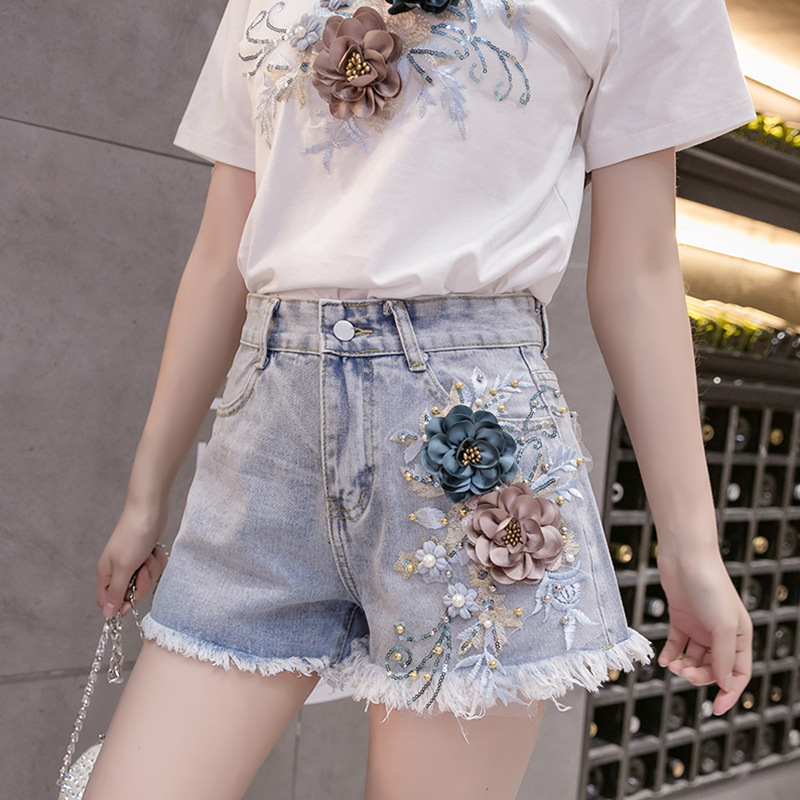 Promotion Embroidered Flower High Waist Denim Shorts Female Shorts 2020 Spring Summer Three-dimensional Flowers Fashion Shorts