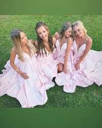 Розовое платье подружки невесты на тонких бретелях с v-образным вырезом, длинное платье подружки невесты с низким дизайном для свадебной