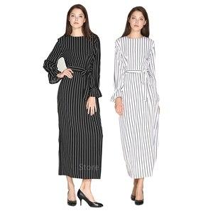 Muslim Abaya Womens Striped Long Dress Slim Long Abayas Islamic Muslim Style Fashion Plus Size White Turmpet Sleeve Clothing