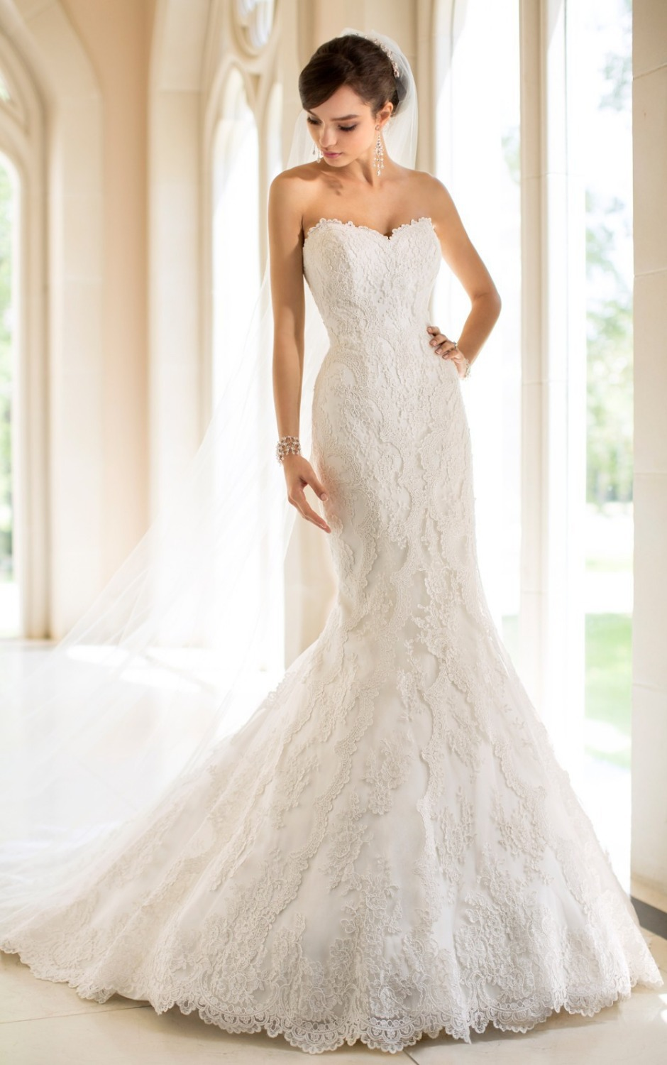 2015 New Style Off The Shoulder High Quality Lace Mermaid Wedding Dresses With Lace Up Back Professional Manufacturer F024