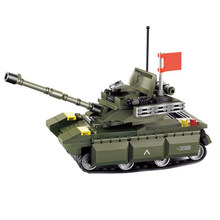 World War 2 WW2 Army Military Soldier City Police SWAT 99A Main Battle Tank Armored Vehicle Building Blocks Bricks Kids Toys(China)