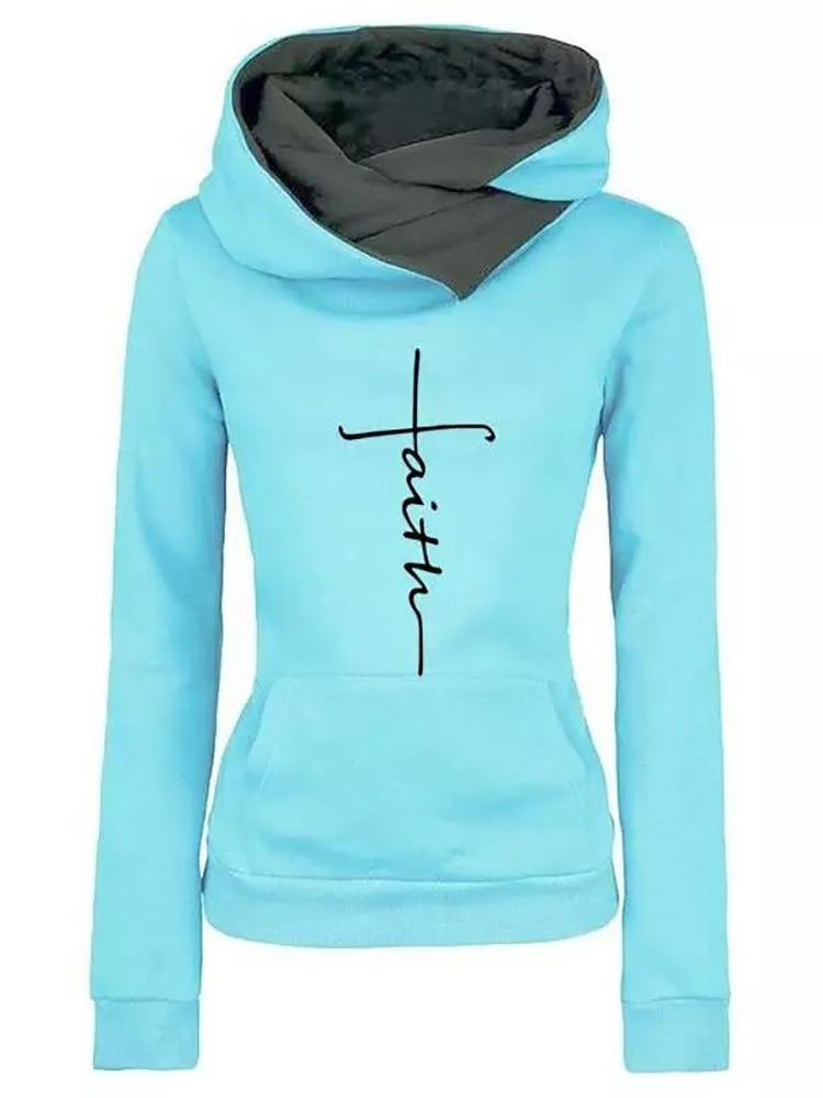 Hoodies Sweatshirts Pullovers Long-Sleeve Warm Christmas Autumn Winter Casual Women Faith