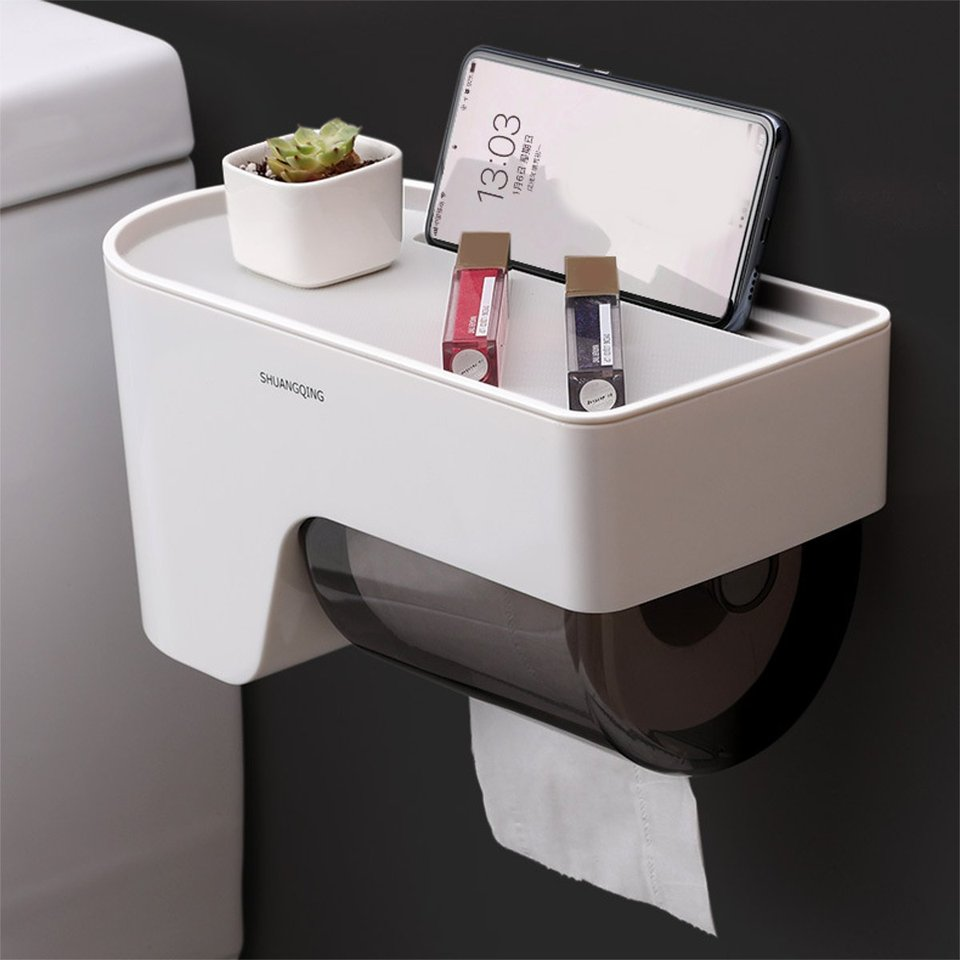 Toilet Self-Adhesive Paper Holder Wall Mounted Home Bathroom Tissue Box Storage