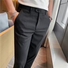 British Style Men Suit Pants Fashion 2021 Spring Summer Business Striped Pants Men Slim Fit Ankle Length Office Trousers Men 36