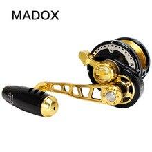 Madox powolne Jigging Reel Pe6 # 400 m Max Drag 35kg 11BB bęben bębnowy Alarm w całości ze stopu metali kołowrotek głębinowe wędkarstwo Trolling Reel