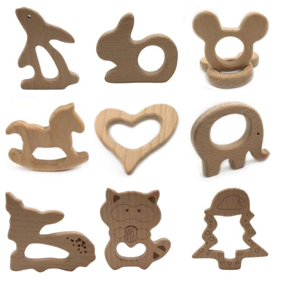 20 PCS BPA FREE Natural Wood Teether Cartoon Animal Shape Wooden Baby Teether Toy Safe New Baby Teething Toys Baby Shower Gift