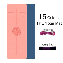 TPE Yoga Mat 6mm For Beginner Non-slip Mat Yoga Sports Exercise Pad With Position Line For Home Fitness Gymnastics Pilates Mats