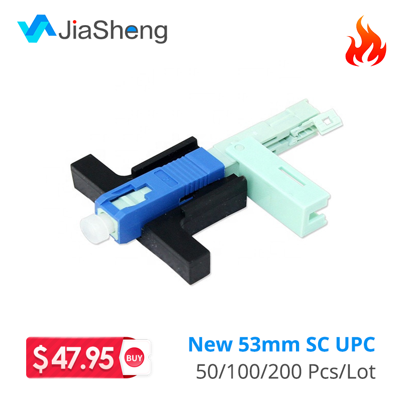 100 PCS/lot SC/ UPC Fast Connector Single-Mode Connector FTTH Tool Cold Connector Tool Fiber Optic Fast Connnector 53mm