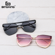 Bingking Fashion Irregular Flat Top Sunglasses Women Metal H