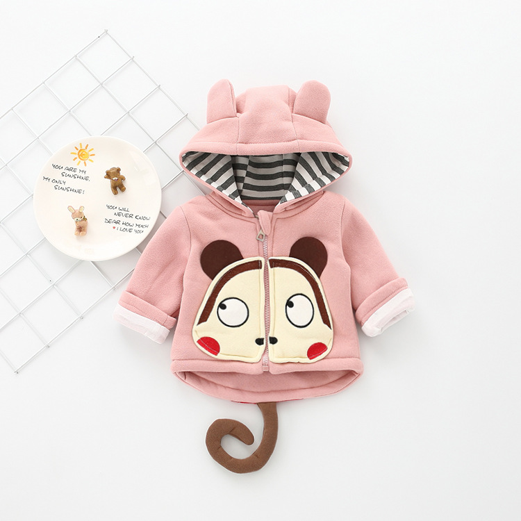Autumn Hot Selling Young Children Baby Cute Hooded Thick-Coat Men And Women Children Korean-style Cartoon Sweater 963