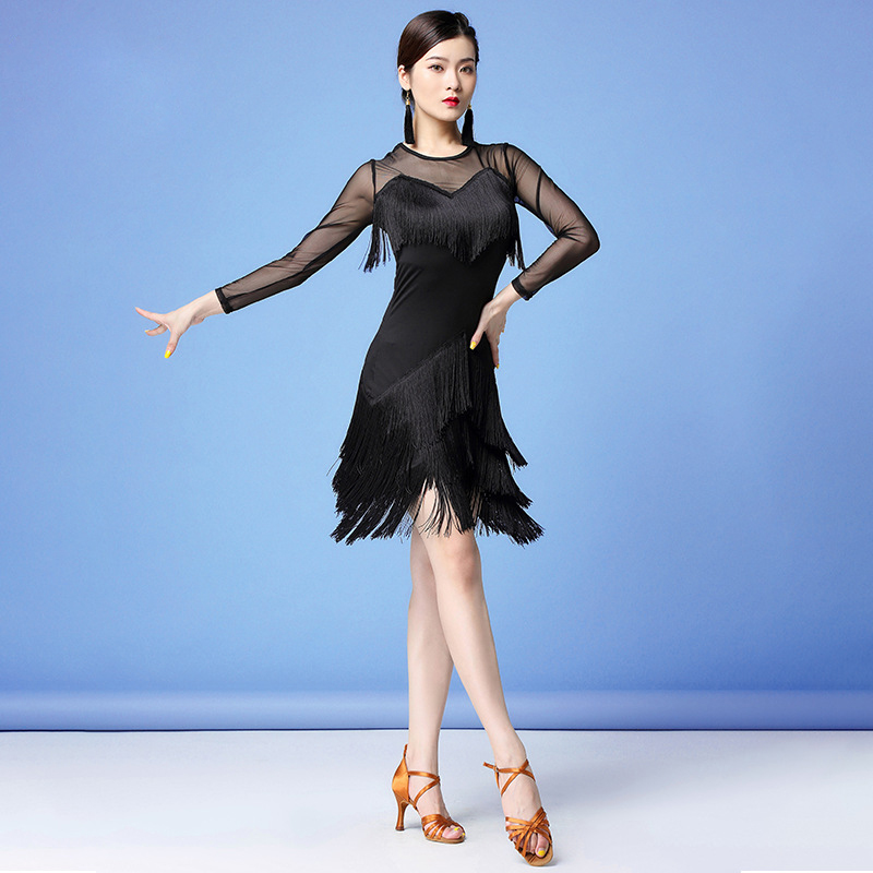 Stage Performance Women Dance Clothes Salsa Samba Wear Front Fringes Mesh Sleeves Spandex One-piece Latin Dresses