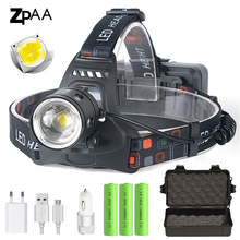 Potężny XHP70.2 XHP50.2 lampa czołowa Led reflektor Zoom lampa czołowa latarka latarka 18650 bateria USB akumulator latarnia wędkarska