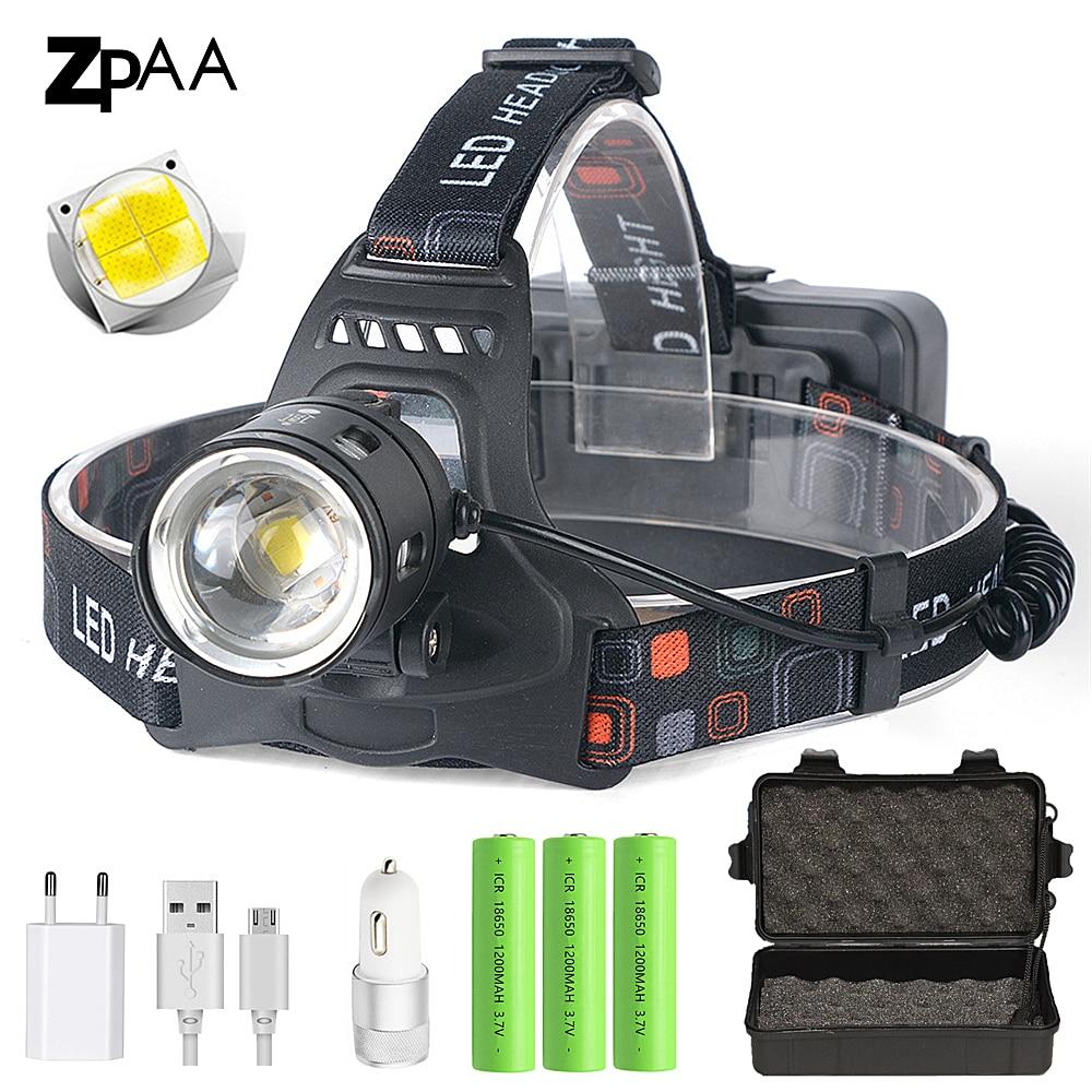 Мощный светодиодный налобный фонарь XHP70.2 XHP50.2, налобный фонарь с увеличением, налобный фонарь, фонарик с аккумулятором 18650, заряжаемый от USB ф...