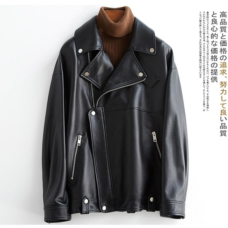 Nerazzurri White Black Plus Size Pu Leather Jackets For Women Long Sleeve Zipper Loose Spring Faux Leather Biker Jacket Women
