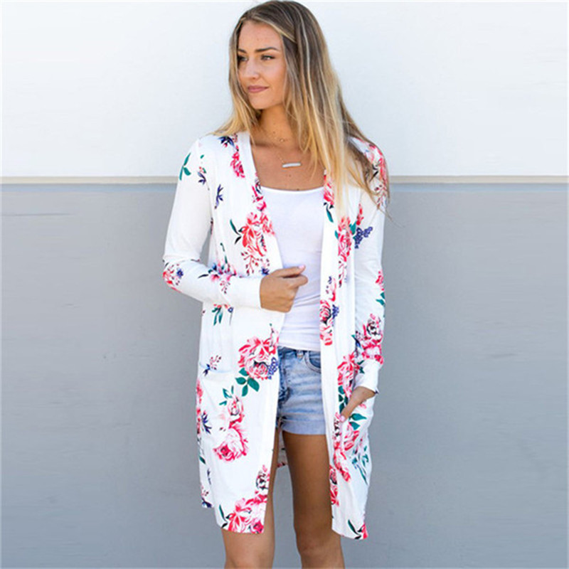 Floral Print Cardigan Women Vintage Long Sleeve Thin Coat Autumn Open Stitch Long Cardigan Mujer Jumper