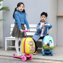 Kids scooter suitcase storage trolley case luggage skateboard for children carry-on kids luggage ride trolley case toy on wheels(China)