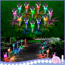 Powered LED Garden Lights 24 Color Solar Automatic Led Lawn Lamps Outdoor Path Underground Floodlights Lighting Solar Lamps cheap UOUNE none HG02440 IP68 1 2V Stainless Steel LED Bulbs Modern Holiday Ni-MH 131 131