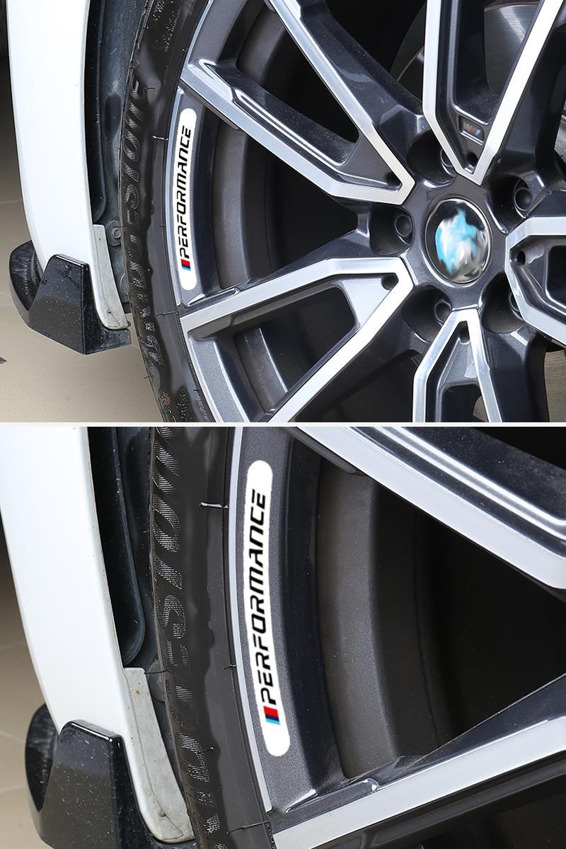 4pcs Mperformance Car Wheel Sticker For BMW E30 E36 E39 E46 E53 E60 E64 E70 E83 E85 E87 E90 E92 E71 F10 F30 F20 F01 F02 M3 M5 X3 4
