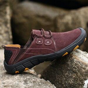 Image 3 - QZHSMY גברים של עור נעליים יומיומיות זכר מגפי לנשימה קשה ללבוש אביב סתיו סניקרס שטוח אור נעלי גדול גודל 38 48