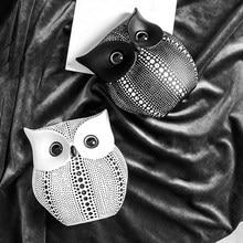 1pc żywica sowa zwierzęce dekoracje Handmade rzemiosło dekoracyjne figurki miniaturowe styl skandynawski biały czarny figurki sowa